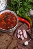 Borschtsch mit Schwarzbrot mit Knoblauch, salzigem Fett und Wodka stockfotografie