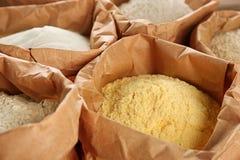 Borse con differenti tipi di farine Fotografia Stock Libera da Diritti