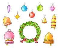 Borse con i regali, contenitori di regalo, luci di Natale Illustrazione dell'acquerello Fotografia Stock