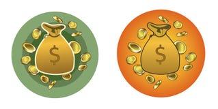 Borse dei soldi con le monete Fotografia Stock Libera da Diritti