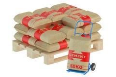 Borse del cemento sul pallet con il carrello a mano illustrazione di stock