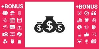 Borse dell'icona dei soldi con il simbolo del dollaro Fotografia Stock Libera da Diritti