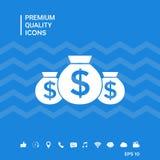 Borse dell'icona dei soldi con il simbolo del dollaro Fotografie Stock Libere da Diritti
