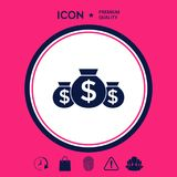 Borse dell'icona dei soldi con il simbolo del dollaro Fotografie Stock