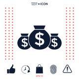 Borse dell'icona dei soldi con il simbolo del dollaro Fotografia Stock