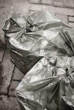 Borse di immondizia sulla via Ricicli i rifiuti Pulisca l'ambiente Fotografia Stock