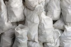 Borse di rifiuti bianchi Fotografia Stock Libera da Diritti