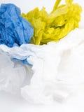 Borse di trasportatore di plastica su fondo bianco Fotografie Stock Libere da Diritti