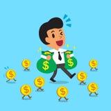 Borse di trasporto dei soldi dell'uomo d'affari del fumetto e camminare con le monete dei soldi Immagini Stock