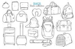 Borse disegnate a mano di viaggio messe illustrazione di stock