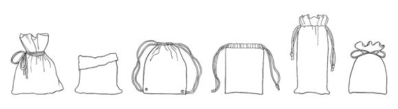 Borse residue zero disegnate a mano di eco per comperare illustrazione vettoriale