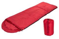 Borse rosse di sonno isolate su un fondo bianco Fotografia Stock Libera da Diritti