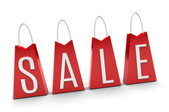 Borse rosse di vendita Fotografie Stock Libere da Diritti