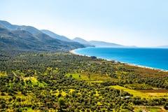 Borsh海滩在阿尔巴尼亚 库存图片