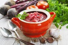 Borsh 盘祖母腌制传统俄国的s 图库摄影