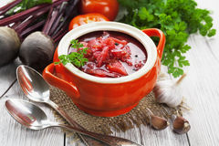 Borsh. Russian traditional dish Stock Photos