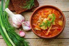 Borsjt De traditionele Oekraïense groentesoep maakte van bieten, wortelen, tomaten, aardappels, kool royalty-vrije stock afbeelding