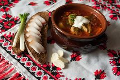 Borsjt - een traditionele Oekraïense schotel Royalty-vrije Stock Foto
