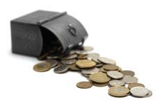 Borst met geïsoleerde muntstukken, royalty-vrije stock fotografie