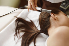 Borsta långt hår för härlig kvinna Hårskönhetbehandling Arkivbilder