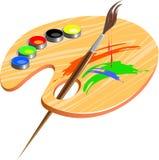 Borsta och paletten stock illustrationer