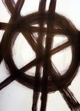 Borsta utdragna raka skärande linjer och en cirkel stock illustrationer