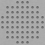 Borstad metalltegelplattabakgrund med Gray Grill Holes Royaltyfri Fotografi