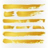 Borstar för abstrakt begrepp för guldgulingmålarfärg vektor texturerade Guld- hand drog borsteslaglängder royaltyfri illustrationer