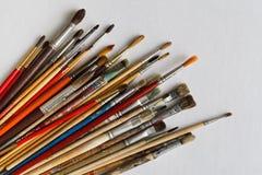 Borstar för konstnär` som s isoleras på vit bakgrund Royaltyfri Foto