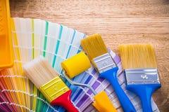 Borstar för målarfärg för målningsammansättning tre och Fotografering för Bildbyråer