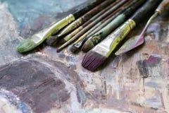 Borstar för olje- målarfärg en diagonal Royaltyfri Foto