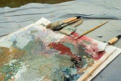 Borstar för olje- målning Fotografering för Bildbyråer