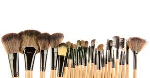 borstar isolerad set white för makeup royaltyfri bild