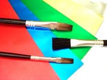 borstar målar tre Royaltyfri Foto