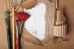 Borstar och blyertspenna Fotografering för Bildbyråer