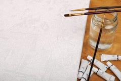 borstar och rör av målarfärg Arkivbilder