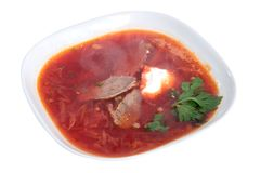 Borstch, borsh, Russian Ukrainian red soup isolated royalty free stock images