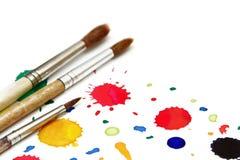 Borste för målarfärg som isoleras på vit Arkivbild