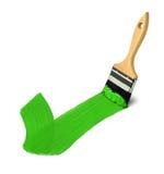 Borste med gröna målarfärgslaglängder bra Fotografering för Bildbyråer