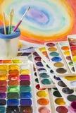Borste och akvarell Fotografering för Bildbyråer