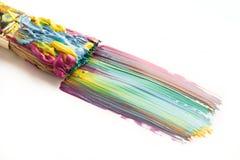Borste och färgrikt penseldrag på vit Royaltyfri Fotografi