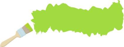 Borste och slaglängd med grön målarfärg Royaltyfria Foton