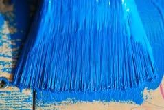 Borstel in blauwe verf Stock Foto's