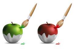 Borstel die de appel met een laag bedekt vector illustratie