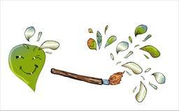 Borstel die het groene dalingen glimlachen trekken Stock Afbeeldingen