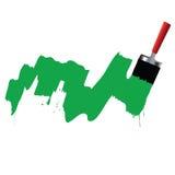 Borstel en groene verf Stock Foto
