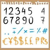 Borstel geschilderde ABC - aantallen Stock Afbeelding