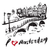 Borstel getrokken gebouwen Amsterdam stock illustratie