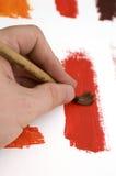 Borstel met Rode Verf Royalty-vrije Stock Afbeeldingen