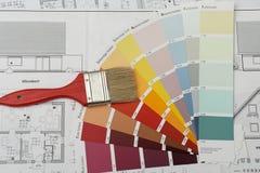 Borstel op colorcharts stock afbeeldingen